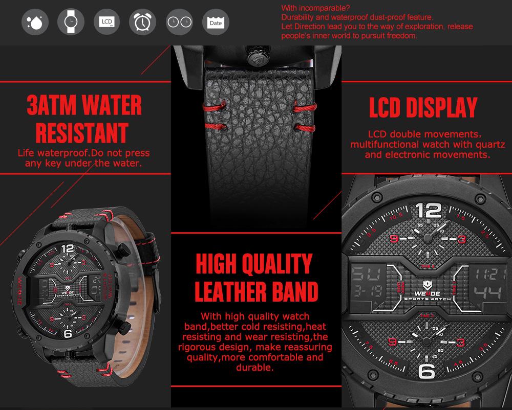 ... Pánské masivní hodinky Weide Luxury - Červené ... 1e50e6e1238